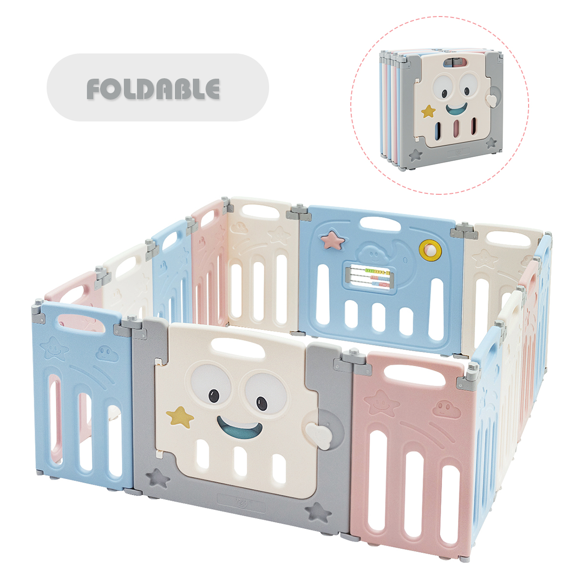 14-Panel Foldable Baby Playpen Child Activity Centre w/ Lock Door & Rubber Mats