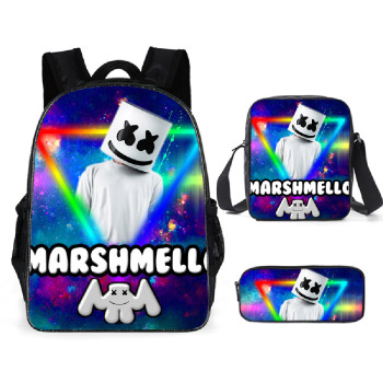 3PCS Backpack School Pencil Case DJ Marshmello Shoulder Bags Bag Student Backpacks Teenager Travel Birthday Gifts
