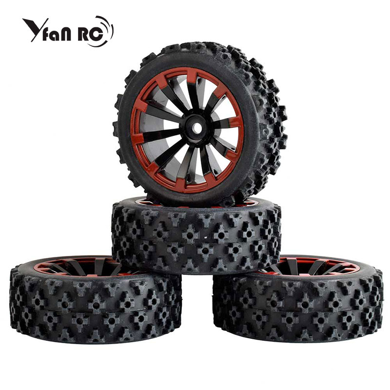 4pcs RC 1/10 Buggy Wheels & Tires 12mm Hex Wear-resisting Of A Sponge On The Road Of The Road Race Desert Plum Blossom Pattern