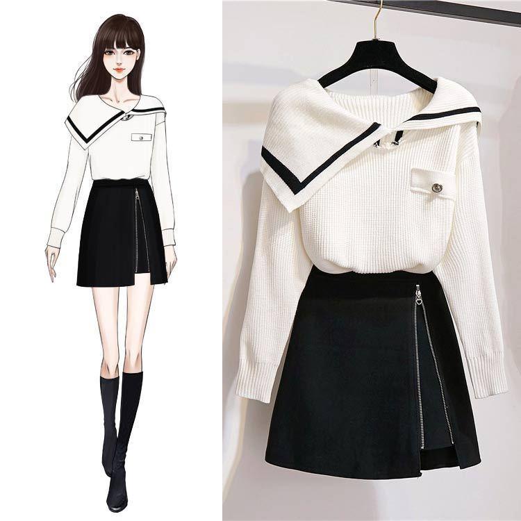 ICHOIX Women 2 Piece Skirt Set Korean Style Winter Outfits White Sweater + Zipper Mini Skirt Girl 2 Piece Set Tops And Skirt Set