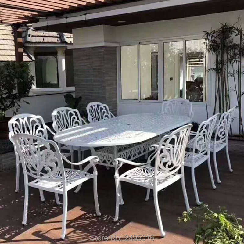 9pcs/set Outdoor Furniture Solid-cast Dining Set Oval Table And 8 Chairs In The Yard Or Garden In White Color