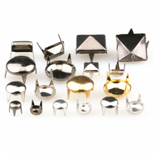 100Pcs 6-12mm 4 Claw Rivets Square/Round Metal Spike Studs Pyramid Rivets For Leather Spikes On Clothes/Shoes/Bags/Belt Punk DIY