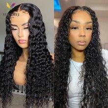 Onda profunda perucas do cabelo humano densidade 150% 4x4 peruca dianteira do laço 8-26 polegadas ondulado e molhado perucas frontais transparentes do laço para mulher