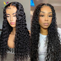 Deep Wave Human Hair Wigs Density 150% 4X4 Lace Front Wig 8-26Inches Wavy And Wet Transparent Lace Frontal Wigs For Women