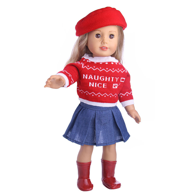 18-Inch-American-Doll-Clothes-3-PCS-Red-Hat-Sweater-Skirt-Clothing-Set-Fit-For-43cm (2)