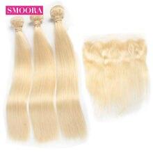 Mèches péruviennes Remy avec Lace Frontal Closure 13*4, cheveux naturels lisses, blond miel 613, d'oreille à oreille, avec Frontal Smoora