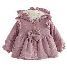 Winter Baby Girls Warm Coat Infant Kids Hooded Jacket Cute Thicken Velvet Baby Coat Solid Children Outwear