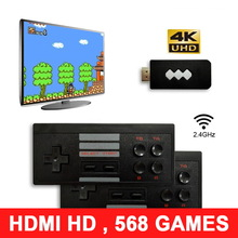 USB Wireless Handheld TV Video Game Console Build In 568 Classic Games Mini Video Console 2 Game Players Support HDMI Output недорого