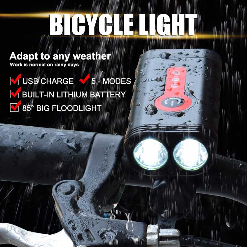 WasaFire 2*T6 LED Bike Front Light Waterproof  MTB Bike Headlight USB Rechargeable Flashlight Cycling Lanterna For Bicycle Lamp Bicycle Light    - title=
