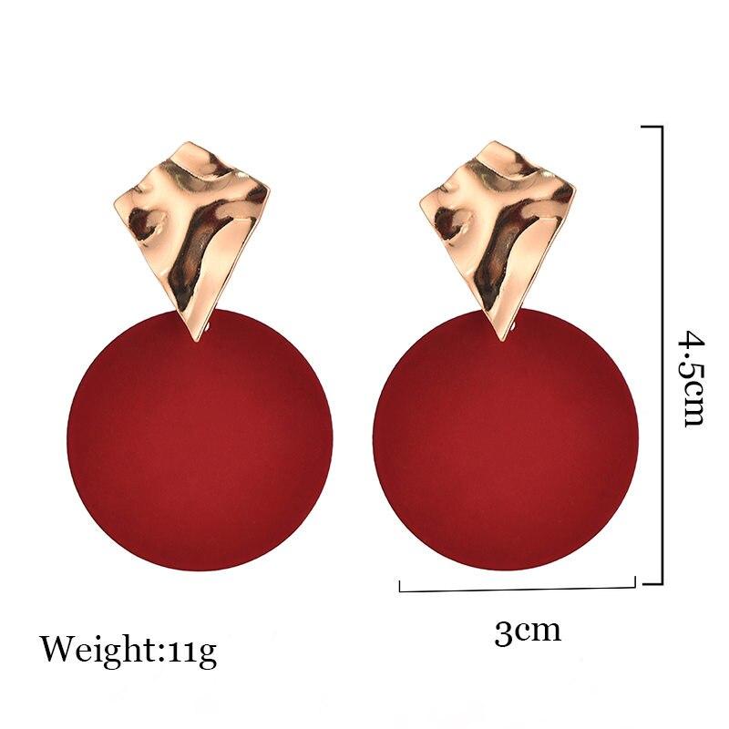 Fashion Earrings For Women Gold Metal Single Drop Dangle Earrings Vintage Statement Round Geometric Earring 19 Fashion Jewelry 7
