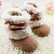Winter Warm First Walker Baby Girl Toddler Boots With Butterfly-knot Anti-slip