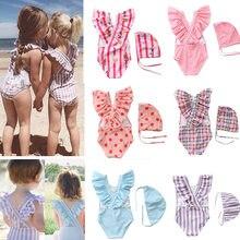 2 88y da criança do bebê meninas roupa de banho de uma peça meninas maiô com chapéu crianças roupas de banho crianças beach wear meninas banho suit-SW463