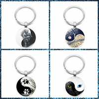 2019 New Yin and Yang Black and White Cat Claw Key Ring Life Tree Keychain 25mm Glass Convex Round Key Ring Gift Jewelry