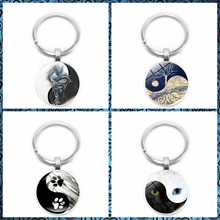 2019 New Yin and Yang Black and White Cat Claw Key Ring Life Tree Keychain 25mm Glass Convex Round Key Ring Gift Jewelry 2019 new creative cartoon yin and yang black and white cat necklace gift glass convex round pendant necklace fashion jewelry