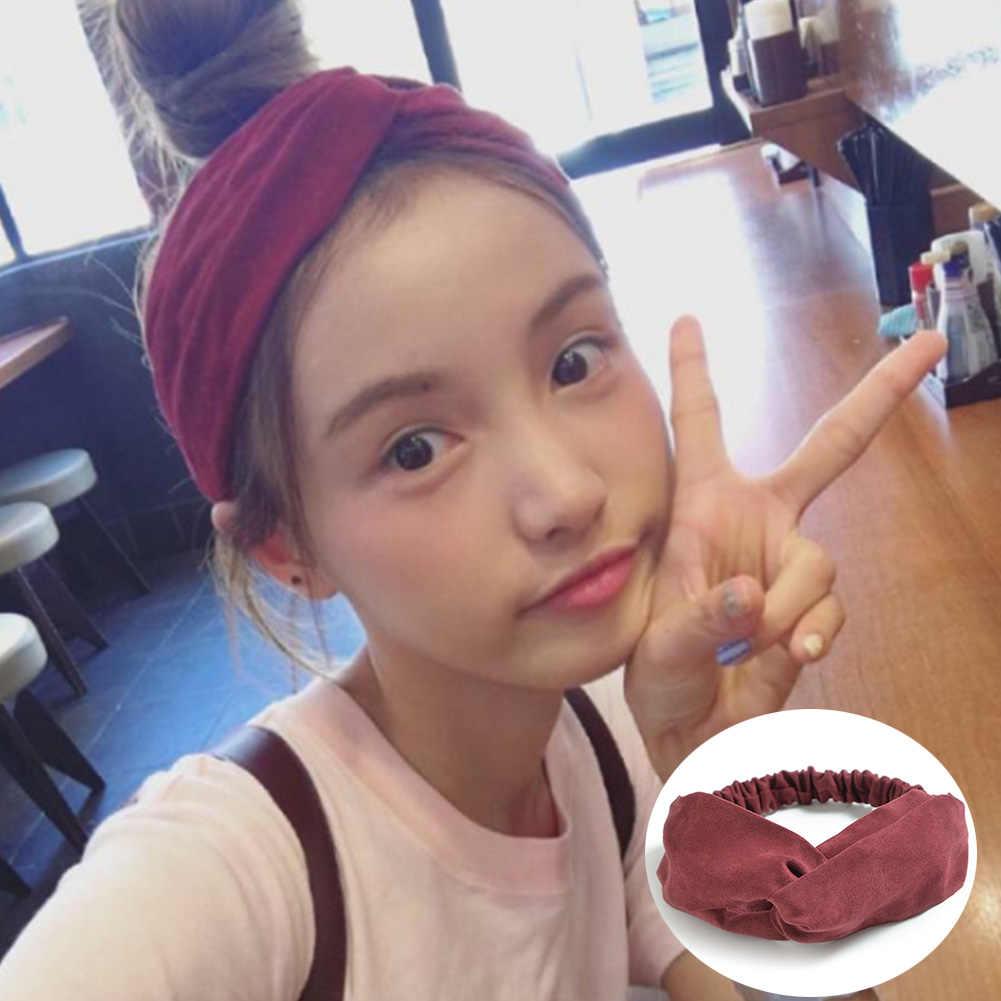 Einfarbig Kaninchen Ohren Stirnbänder Koreanische Wildleder Retro Metall Draht Schal Haar Zubehör Haar Krawatten Kreuz Bogen Haarband Für Mädchen