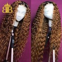 Colorido ombre peruca de cabelo humano 13x4 natural encaracolado frente do laço perucas de cabelo humano para as mulheres preto remy cabelo brasileiro babador