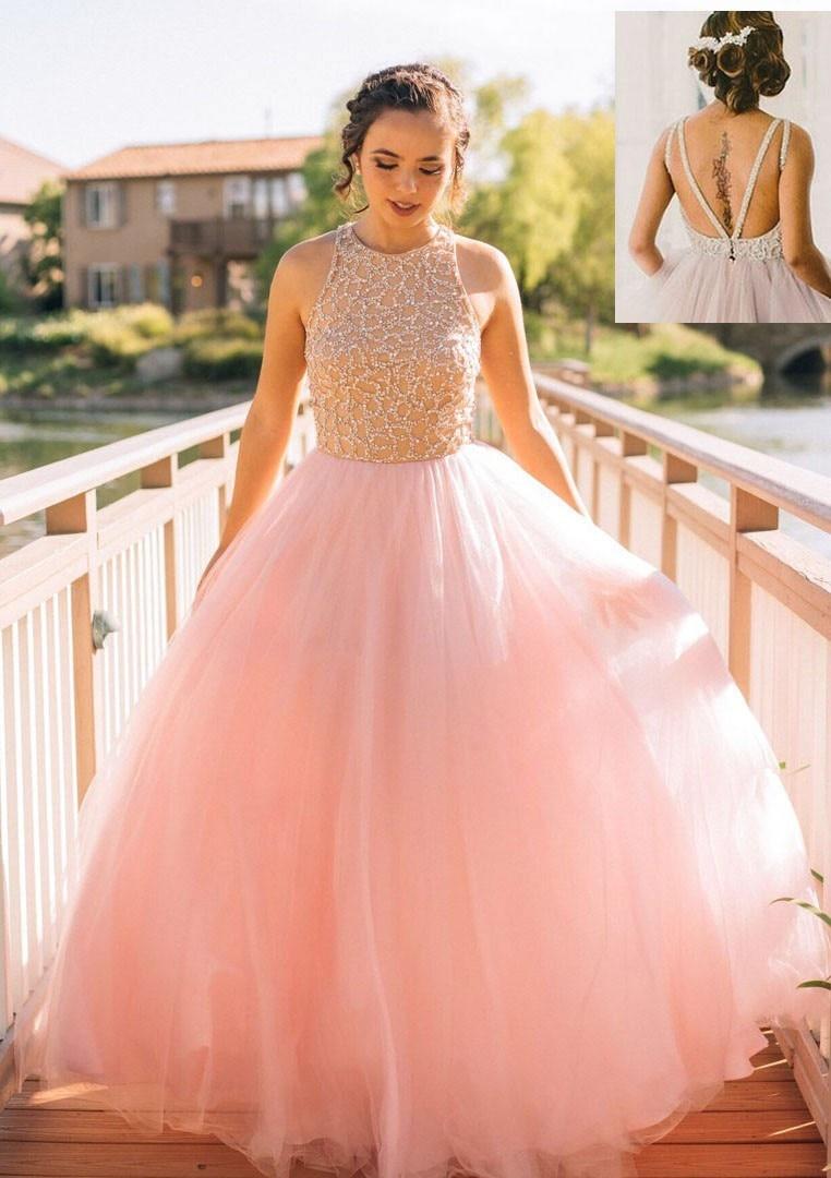 Fabulous New Evening Dresses 2020 Cap Sleeve Court Train Beading Tulle A-Line Prom Dresses Robe De Soriee