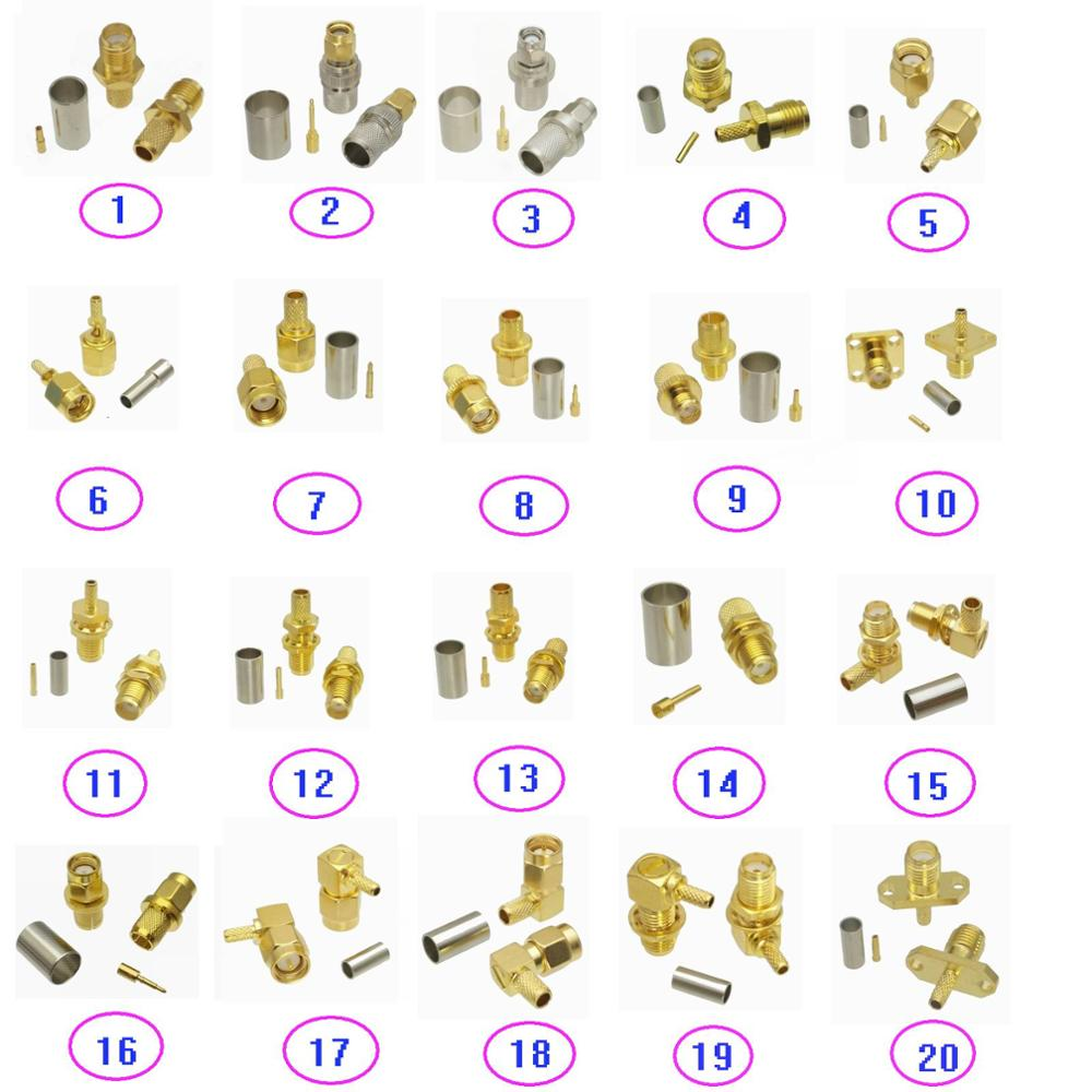 Connector SMA Male Plug & Female Jack Crimp For RG316 RG174 / RG58 RG142 / RG8X LMR240 / RG5 RG6 / RG8 LMR400 RF Coaxial