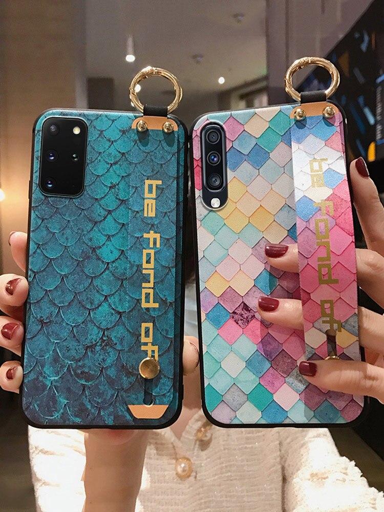 For Samsung Galaxy A50 A51 A70 A71 A20 30 A31 S20 Ultra S8 S9 S10 Plus Note 10 Plus Lite Wrist Strap Phone Holder Case