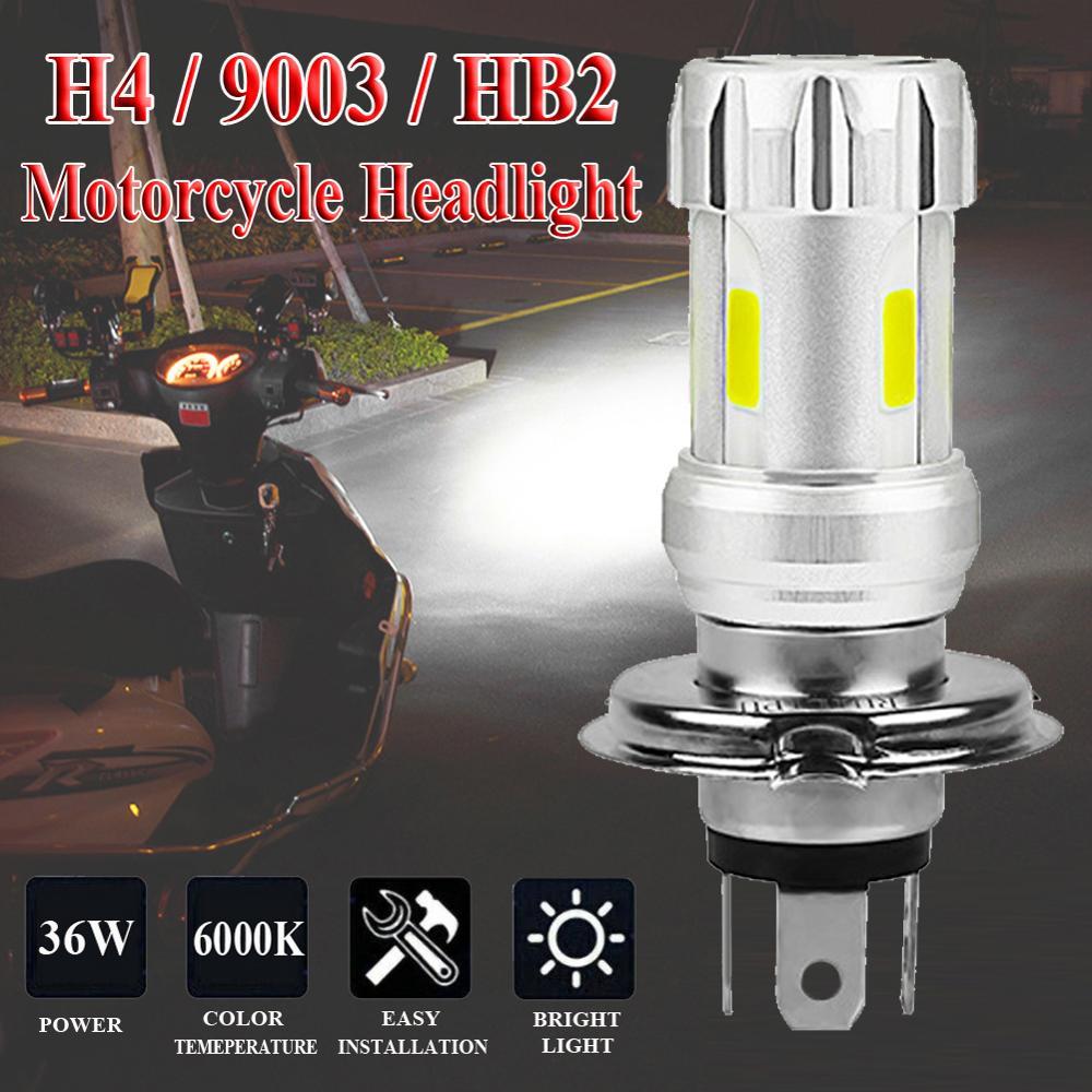 Motorcycle Headlight Bulbs H4 White 36W LED Lamps COB 6000K Motor Bike DC 12V Headlamp 1