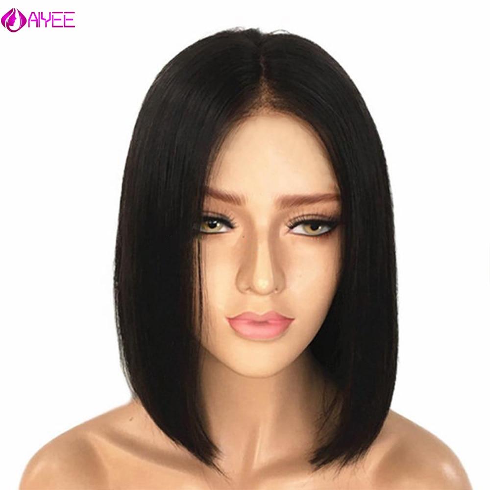 AIYEE Kurze Gerade Brasilianische Perücke Synthetische Mittelteil Haar Perücken Volle Kopf für Schwarze Frauen Hitze Beständig Perücke für Frauen
