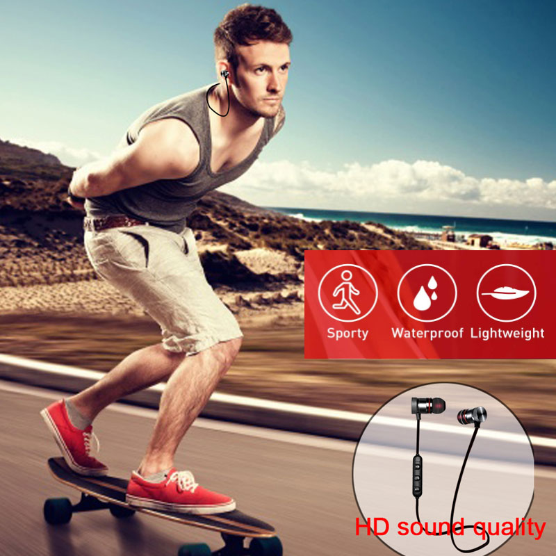 5.0 Bluetooth Earphone Sports Neckband Magnetic Wireless earphones Stereo Earbuds Music Metal Headphones With Mic For All Phones 6
