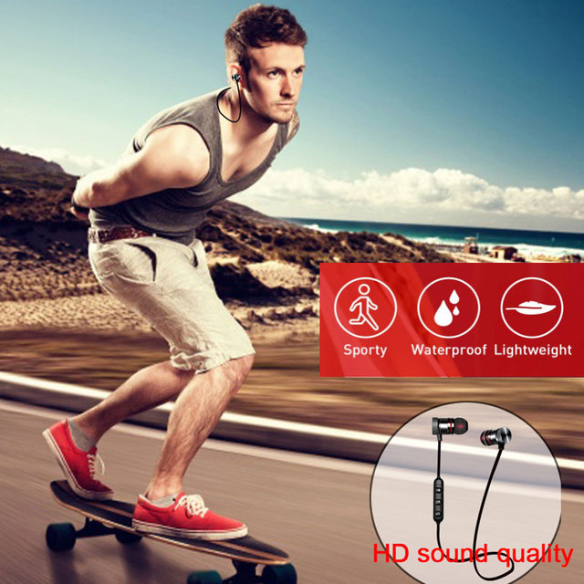 5.0 Bluetooth Earphone Sports Neckband Magnetic Wireless earphones Stereo Earbuds Music Metal Headphones With Mic For All Phones 5