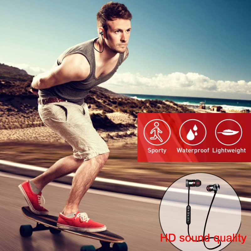 5.0 Bluetooth Oortelefoon Sport Nekband Magnetische Draadloze Koptelefoon Stereo Oordopjes Muziek Metal Hoofdtelefoon Met Microfoon Voor Alle Telefoons