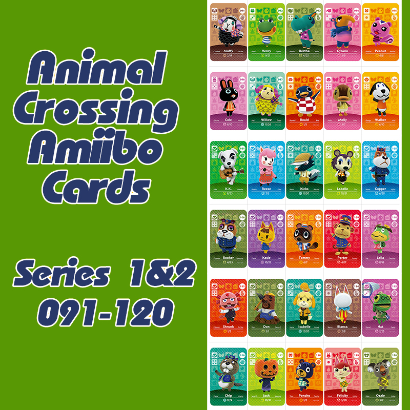 Animal Crossing New Horizons Amiibo Card For NS Switch 3DS Game Lobo Card Set Series 1&2 (091-120)