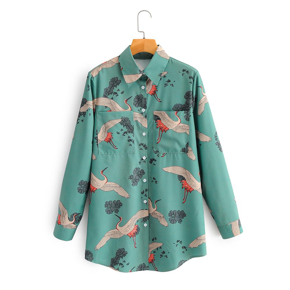 New 2020 Women Vintage Crane Print Casual Smock Blouse Office Lady Double Pocket Femininas Shirts Chic Retro Blusas Tops LS6661