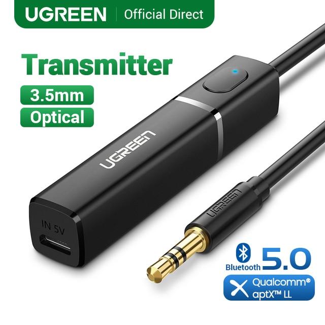 UGREEN nadajnik Bluetooth 5.0 bezprzewodowy Audio muzyka APTX LL krótki czas oczekiwania 3.5mm Aux Jack cyfrowy optyczny dla Adapter słuchawek
