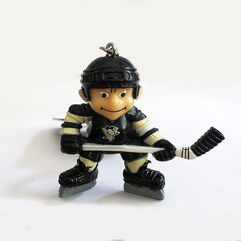 Hockey Player KeyChain Toy Doll PVC Pendant For Ice Hockey Fans Birthday Gift