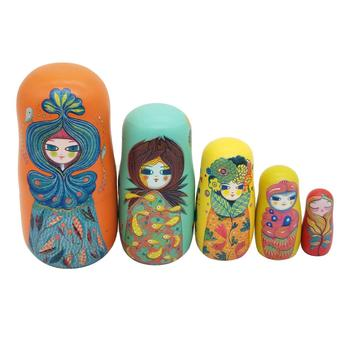 5Pcs/Set Cute Girl Wooden Russian Matryoshka Nesting Doll Puzzle Toy Craft Gift Christmas New Year Handmade Crafts