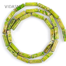 Green Sea Sediment Jaspers Natural Column Beads For Jewelry Making 4*13mm Charm Spacer Loose Diy Bracelet Necklace 15
