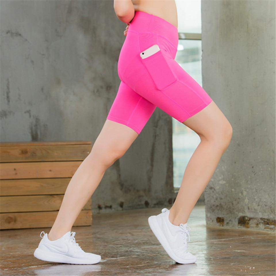 bolsos respirável sólido biker shorts feminino fitness