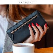LAORENTOU Cowhide Business Women Large Capacity Card Slot Cash Money Bag Passport Clutch Bag Leather Ladies Wallet Coin Holder