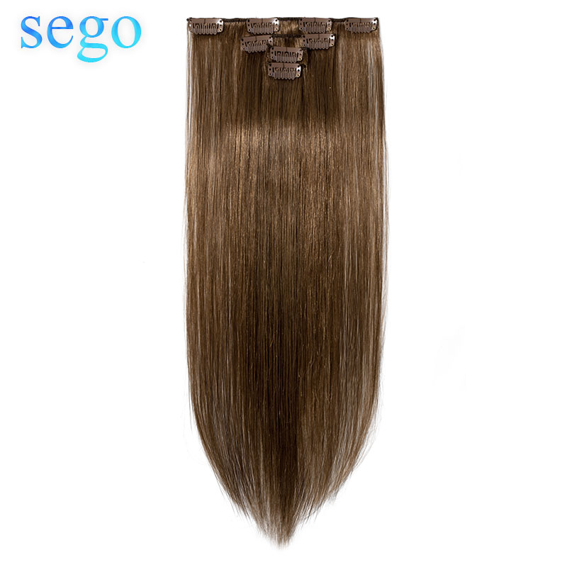 """SEGO 10""""-22"""" 40g Straight Clip in Human Hair Extensions Double Drawn Machine Made Non-Remy Human Hair Clip in Extensions 4PCS/S"""