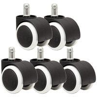 50mm Büro Stuhl Roller Castor Räder Set von 5 schwarz & weiß Rollen Heimwerkerbedarf -