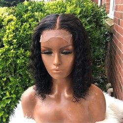 Preplucked Remy Kurze Bob Lose Lockige Schwarze Farbe 13*4/6 T Teil Spitze Vorne Perücke Menschenhaar Perücke Für schwarze Frauen Mit Baby Haar