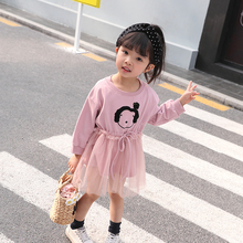 Cute Girls Baby Pleated Short Dress Printed Girls Clothing Long Sleeve Splice Mesh Dresses Mini Children Autumn Kids Clothes Lace up Princess Dress baby girls cute floral printed mini dresses spring autumn long sleeve princess lovely dresses kids costume children clothes
