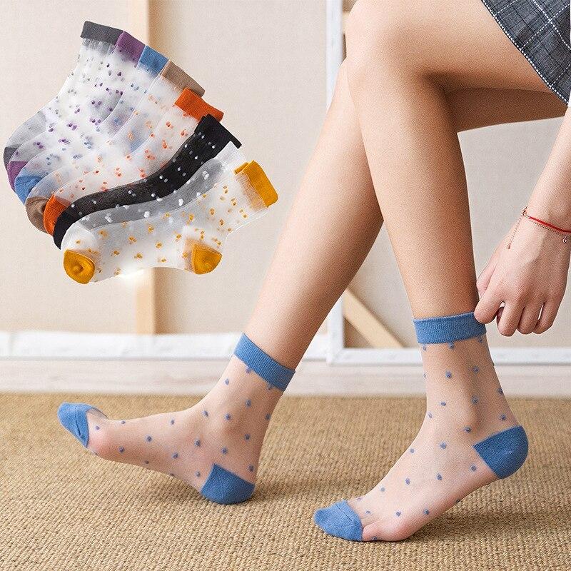 4 pairs Women Girl/'s Summer Polka Dot //Striped Transparent Ankle Socks