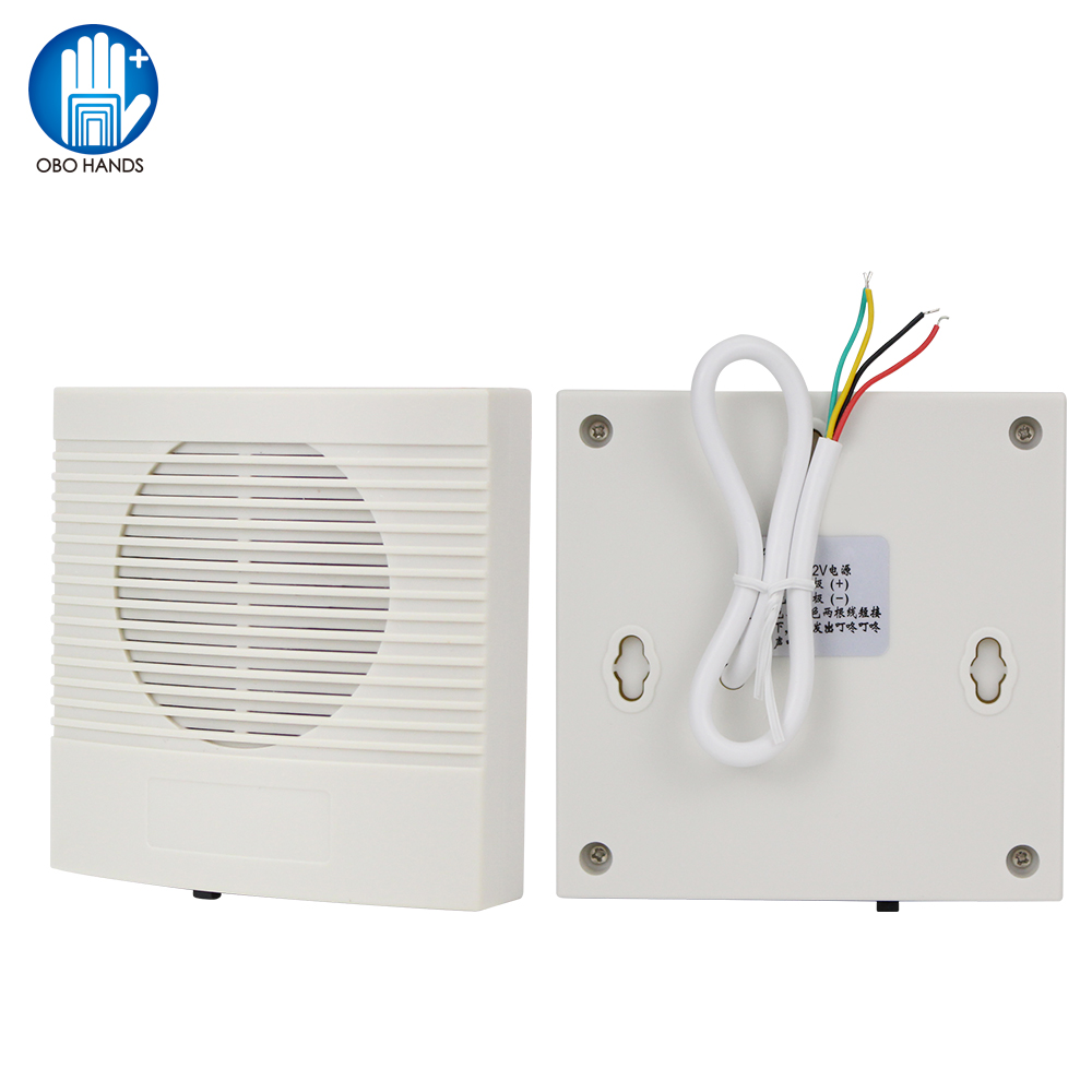 12VDC Wired Doorbell With 4 Wires White ABS Plastic Fireproof Door Bell Dingdong Chime 3 Ringtones Musical For Access Control