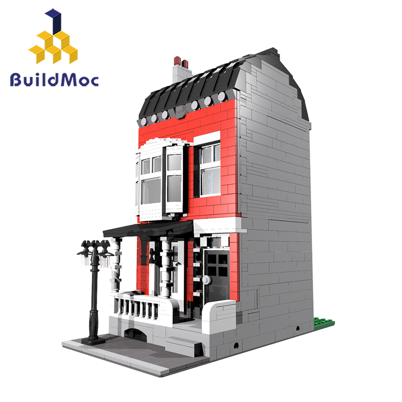 BuildMOC CITY Street 10374 Red Town House Fantasy Fortress Model Christmas Building Blocks Bricks Kids Toys 1