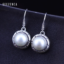 Geezenca 925 Silver  Pearl  Earrings  Handmade Caft  Classica Minimalism Thai Silver Earring  Fine Jewelry for Women Gift