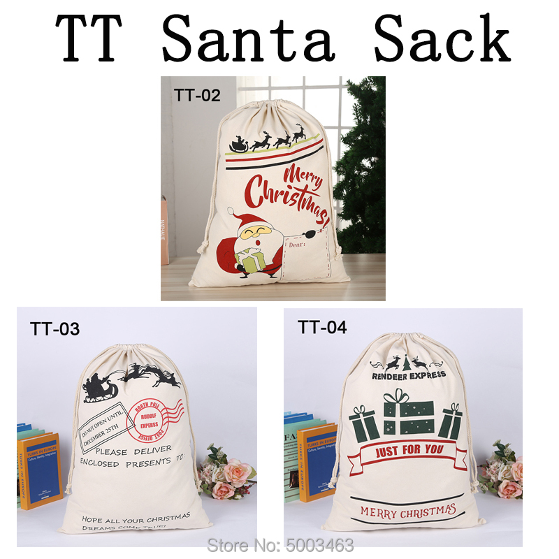 Wholesale Christmas Bags 10pcs/lot Santa Sack Drawstring Party Canvas Bag Santa Claus Kids Bags Hot Sale Christmas Gift
