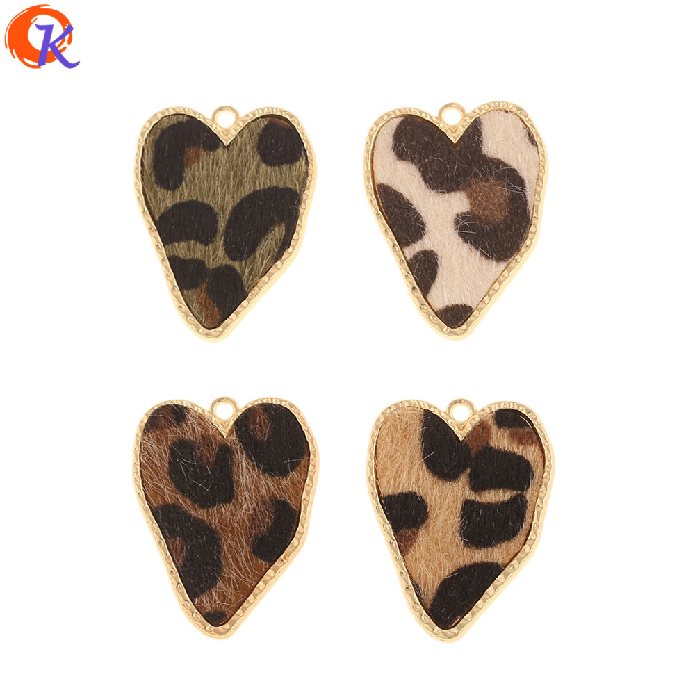 Cordial Design 50Pcs 25*32MM Jewelry Accessories/DIY Making/Charms/Heart Shape/Leopard Print Effect/Hand Made/Earring Findings