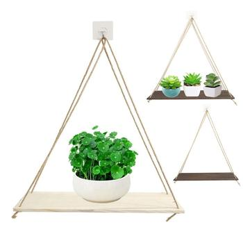 Wooden Wall Hanging Planter Flower Pot Shelf Storage Rack Home Garden Decor Better display a variety of things, such as plants, image