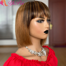 Short Bob Wig With Bangs Brazilian Straight Ombre Human Hair Wigs Honey Blonde Full Machine Made Wigs Remy Hair