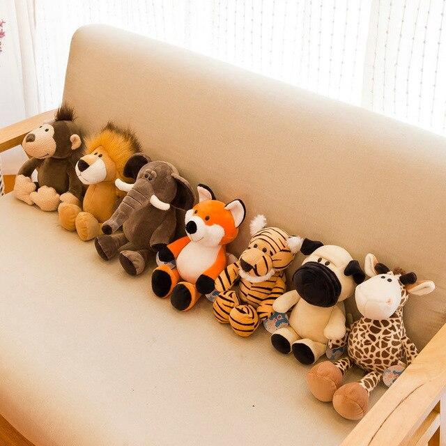 25cm 35cm Super Cute Stuffed Toys for Kids Sleeping Mate Jungle Animals Dolls Elephant Dog Tiger Fox Lion Giraffe Raccoon Monkey 5