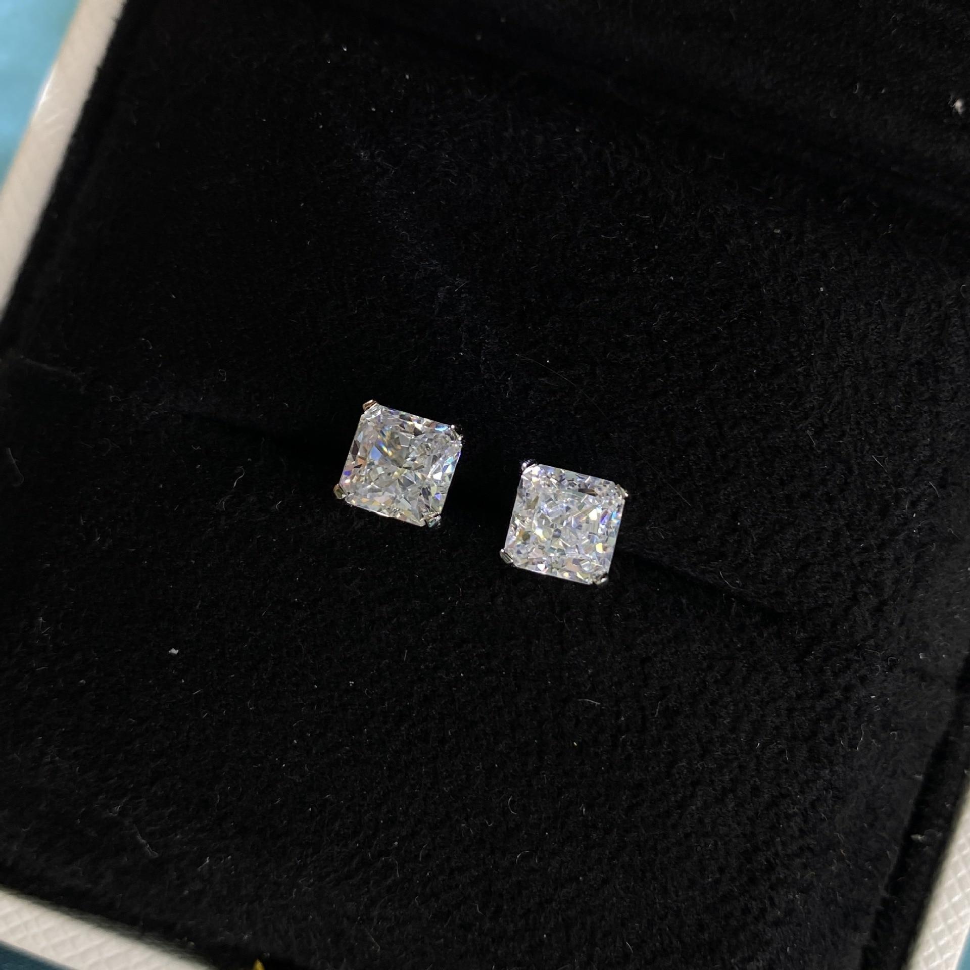 Wong Rain 925 en argent Sterling créé Moissanite diamants pierres précieuses de mariage fiançailles bijoux fins boucles d'oreilles boucles d'oreilles en gros 2